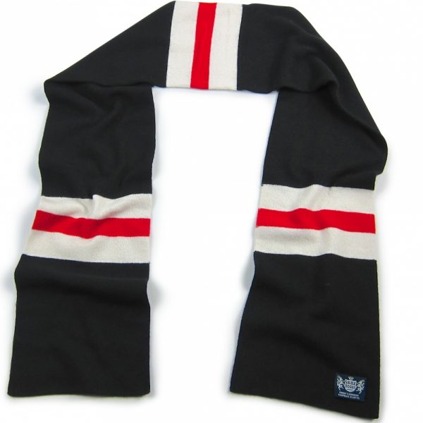 Black White and Red Hattrick Cashmere Football Scarf by Savile Rogue