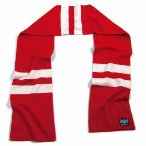 Red and White Hattrick Cashmere Football Scarf by Savile Rogue