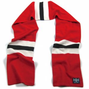 Red White and Black Hattrick Cashmere Football Scarf by Savile Rogue