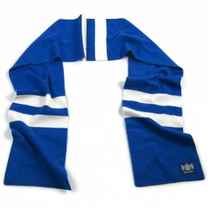 Royal Blue and White Hattrick Cashmere Football Scarf by Savile Rogue