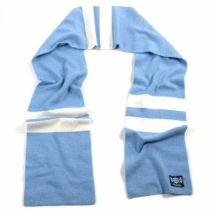 Sky Blue and White Hattrick Cashmere Football Scarf by Savile Rogue