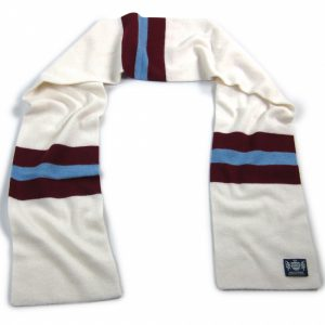 White, Claret and Blue Hattrick Cashmere Football Scarf by Savile Rogue
