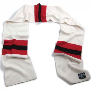 White Red and Black Hattrick Cashmere Football Scarf