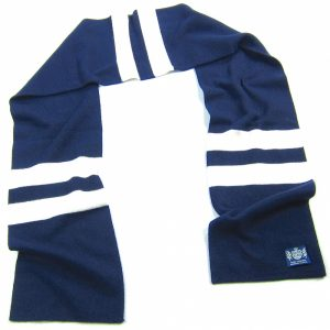 Navy and White Hattrick Cashmere Football Scarf