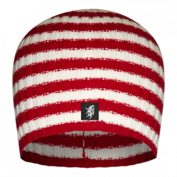 Multistripe Cashmere Beanie Hat in Red and White
