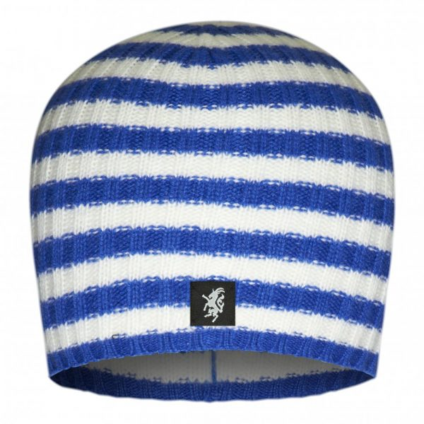 Multistripe Cashmere Beanie Hat in Royal Blue and White