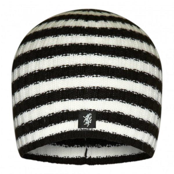 Multistripe Cashmere Beanie Hat in Black and White