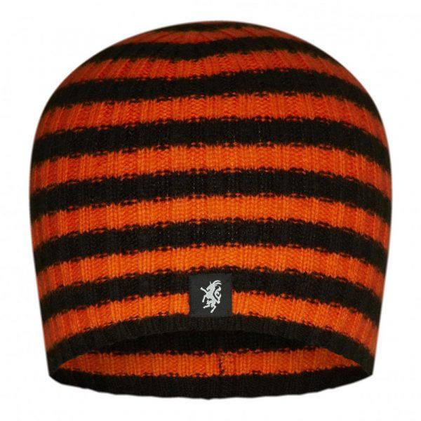 Multistripe Cashmere Beanie Hat in Black and orange