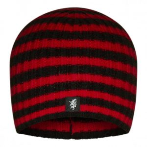 Multistripe Cashmere Beanie Hat in Black and Red