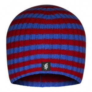 Multistripe Cashmere Beanie Hat in Maroon and Royal Blue