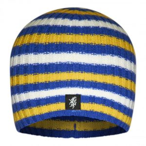 Multistripe Cashmere Beanie Hat in White Yellow and Blue