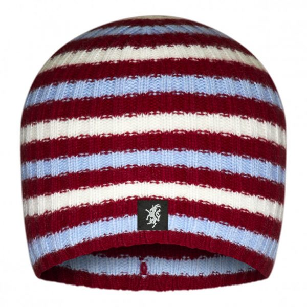 Multistripe Cashmere Beanie Hat in Claret White and Sky Blue