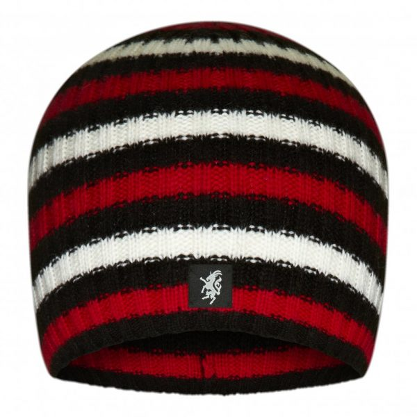 Multistripe Cashmere Beanie Hat in Black White and Red