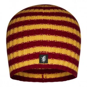 Multistripe Cashmere Beanie Hat in Claret and Gold