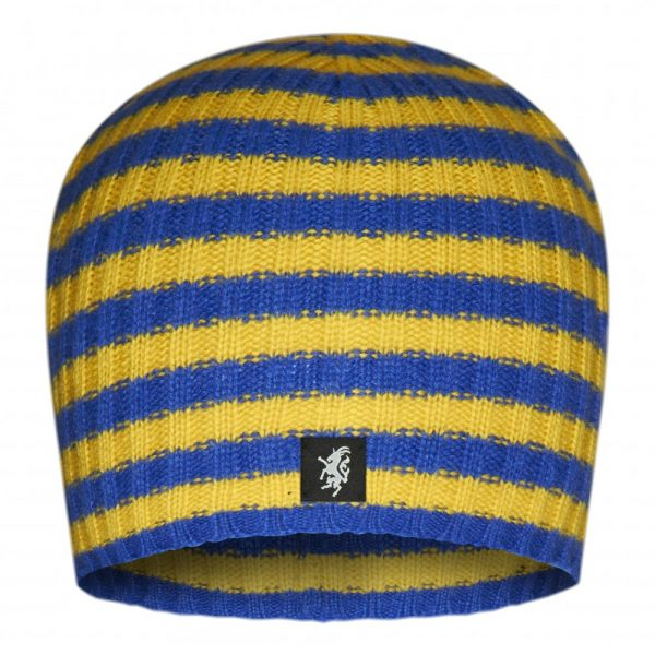 Multistripe Cashmere Beanie Hat in Blue and Yellow