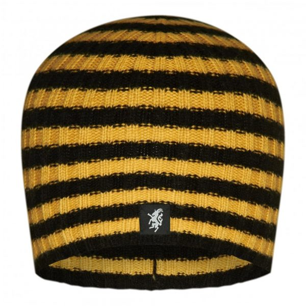 Multistripe Cashmere Beanie Hat in Black and Gold