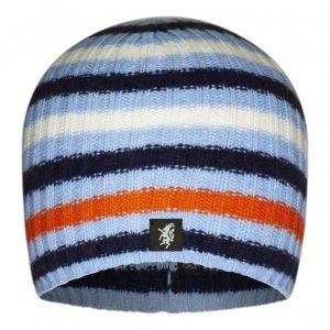 Multistripe Cashmere Beanie Hat in Sky White Navy Orange