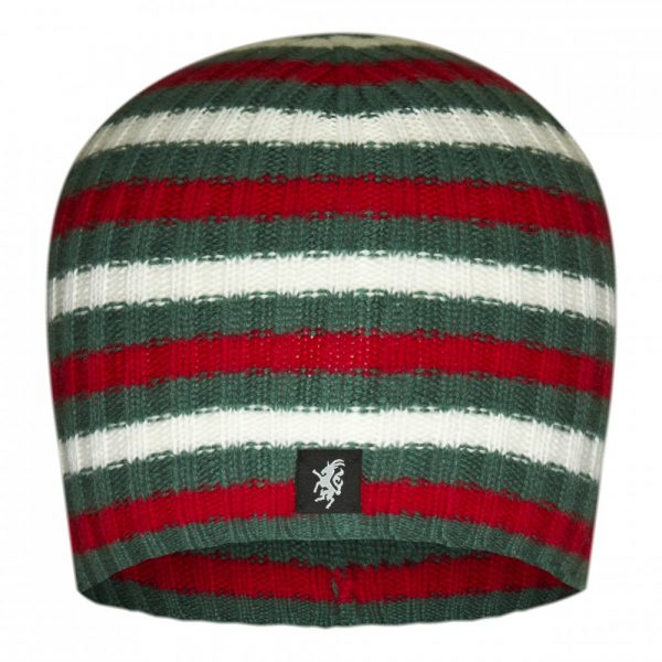 Multistripe Cashmere Beanie Hat in Green, Red And White
