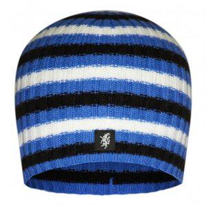 Multistripe Cashmere Beanie Hat in Blue, Black And White