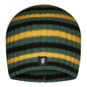 Multistripe Cashmere Beanie Hat in Black Green And Gold