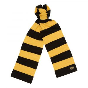 Black and Gold King Minibar - The tassel-free traditional cashmere football scarf by Savile Rogue, the world's finest football scarf brand.