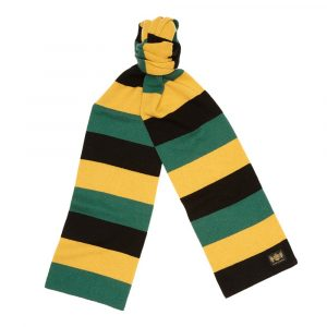 Black green and gold King Minibar - The tassel-free traditional cashmere football scarf by Savile Rogue, the world's finest football scarf brand.