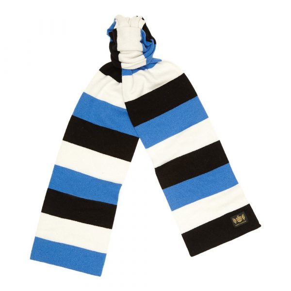 Blue black and white King Minibar - The tassel-free traditional cashmere football scarf by Savile Rogue, the world's finest football scarf brand.