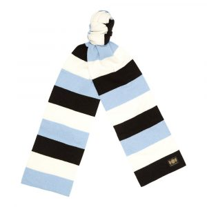 Black, sky blue and white King Minibar - The tassel-free traditional cashmere football scarf by Savile Rogue, the world's finest football scarf brand.