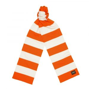 Orange and white cashmere football scarf