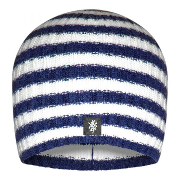 Multistripe Cashmere Beanie Hat in Navy and White