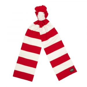 Red and White Minibar King Minibar cashmere Football Scarf
