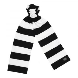 Black and White King Minibar - The tassel-free traditional cashmere football scarf by Savile Rogue, the world's finest football scarf brand.