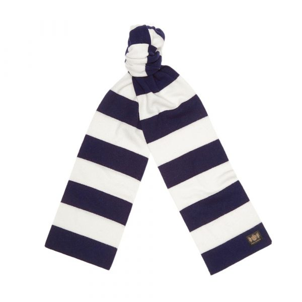 Navy and white King Minibar cashmere football scarf