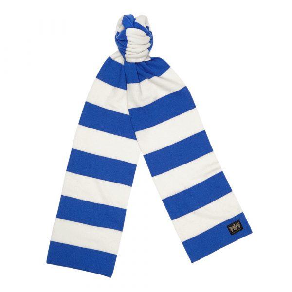Savile Rogue Royal Blue and White King Minibar Cashmere Football Scarf