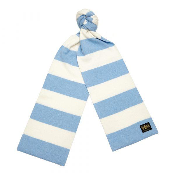 Savile Rogue Sky Blue and White King Minibar Cashmere Football Scarf