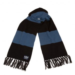 Deluxe Scarf in Petrol Blue and black by Savile rogue