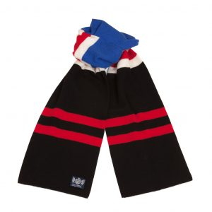 Hattrick Size Scarf in Royabl Blue red black and white by Savile Rogue