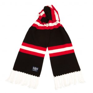 Savile Rogue Black Red and White Deluxe Cashmere Soccer Scarf