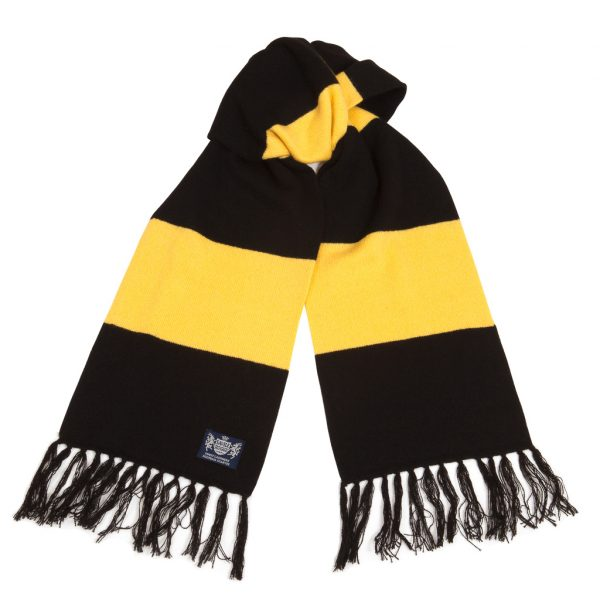 Savile Rogue Black and Yellow Deluxe Cashmere Football Scarf