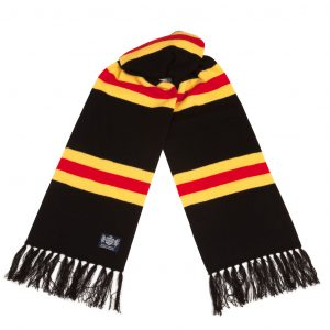 Savile Rogue Black Yellow and Red Deluxe Cashmere Football Scarf