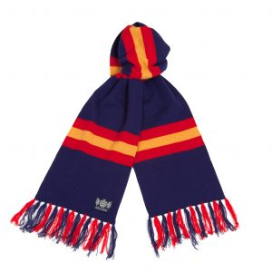 Savile Rogue Navy Blue Red and Gold Deluxe Cashmere Football Scarf