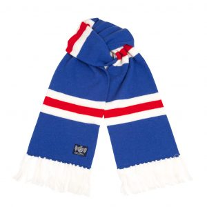 Savile Rogue Blue Red and White Deluxe Cashmere Football Scarf