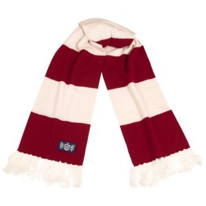 Savile Rogue Claret and White Deluxe Cashmere Football Scarf