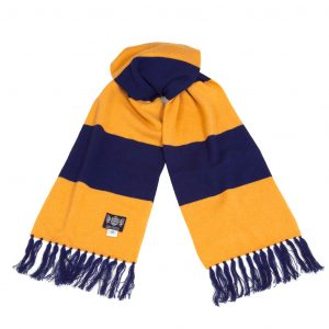Savile Rogue Gold and Blue Deluxe Cashmere Football Scarf