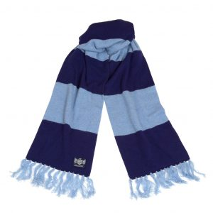 Savile Rogue Navy and Sky blue Deluxe Cashmere Football Scarf