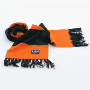 Orange and Black Deluxe Cashmere Football Scarf
