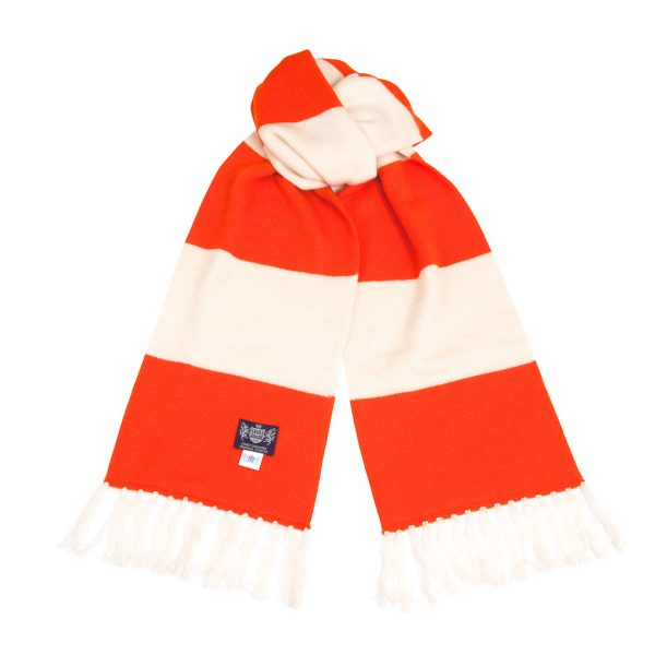 Savile Rogue Orange and White Deluxe Cashmere Football Scarf