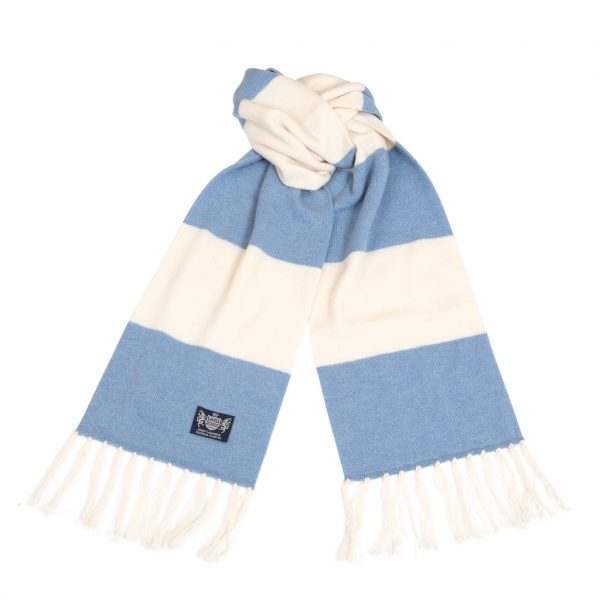 Savile Rogue Sky Blue and White Deluxe Cashmere Football Scarf