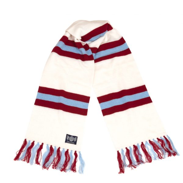 Savile Rogue White Claret and Sky Blue Deluxe Cashmere Football Scarf