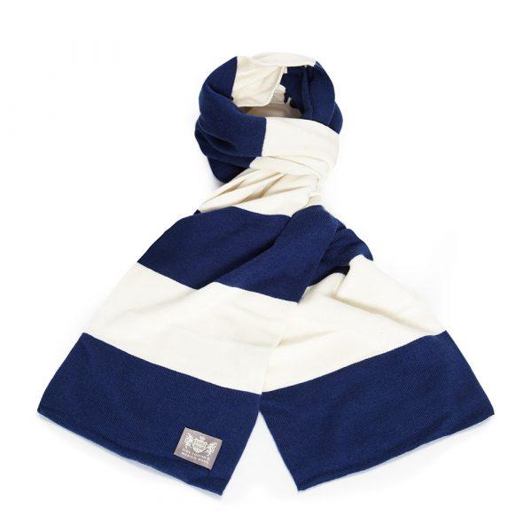 Savile Rogue Faithful Navy Blue and White Cotton-Merino Football Scarf